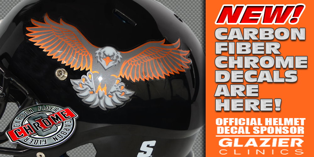 NEW! Carbon Fiber Chrome Football Helmet Decals